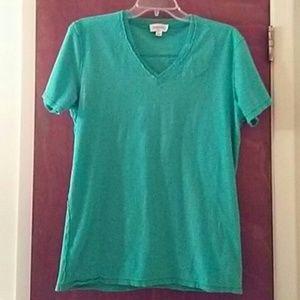Women's Diesel Aqua V Neck T- Shirt Hidden Pocket